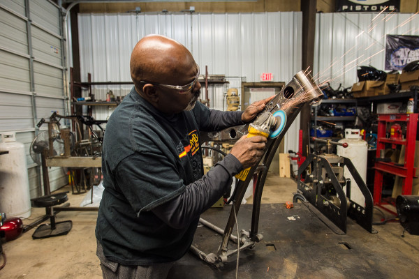 Tommy Bolton working on a new Tombo Racing bagger frame.